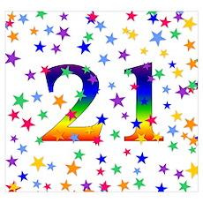 Rainbow Stars 21st Birthday Wall Art Poster