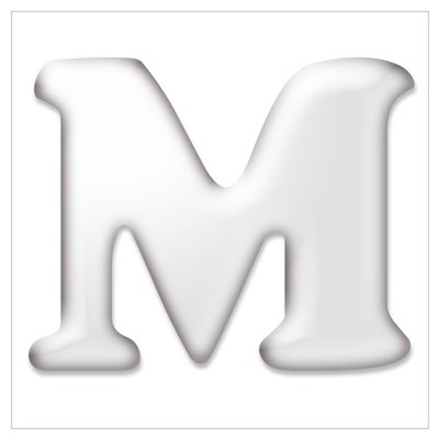 White Letter M Wall Art Canvas Art