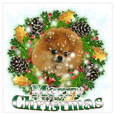 Merry Christmas Pomeranian Wall Art Poster