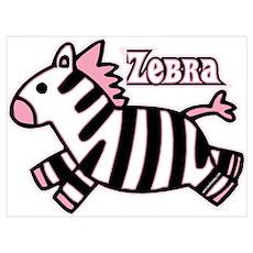 Pink Baby Zebra Wall Art Poster