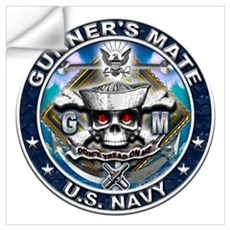 USN Gunners Mate Skull GM Blu Wall Art Wall Decal