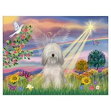 Cloud Angel & Tibetan Terrier Wall Art Poster