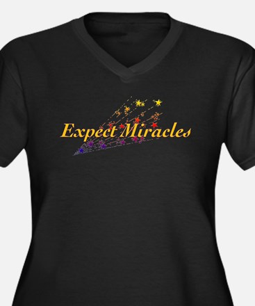 Expect Miracles Women's Plus Size V-Neck Dark T-Sh