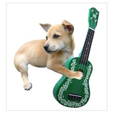 Dog Playing Ukulele Wall Art Poster