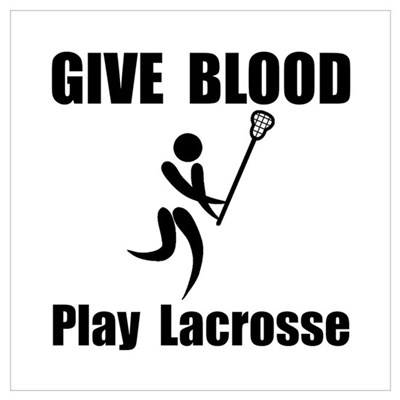 Lacrosse Give Blood Wall Art Framed Print