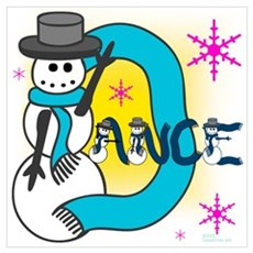 Dance Snowman Wall Art Poster