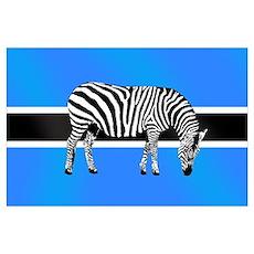 Botswana Zebras Wall Art Poster