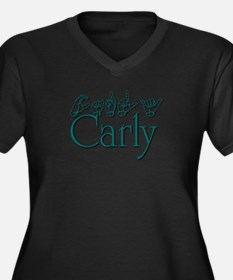 Carly-teal Women's Plus Size V-Neck Dark T-Shirt