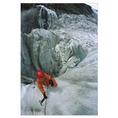 Ice climber on steep ice in Fox Glacier crevasse,  Framed Print