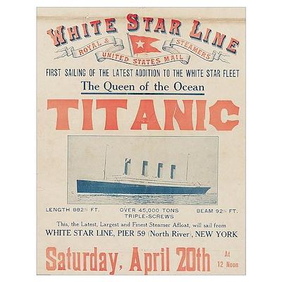 Titanic Advertising Card Wall Art Poster