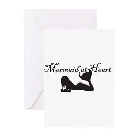 Mermaid at Heart (white) Greeting Cards (Pk of 10)