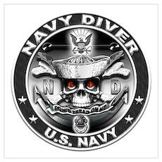 USN Navy Diver ND Skull Don't Wall Art Poster