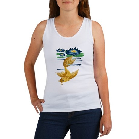 Gold Koi and Deep Blue Lilies Women's Tank Top