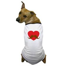 Red Heart Mustache Dog T-Shirt