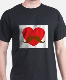 Red Heart Mustache T-Shirt