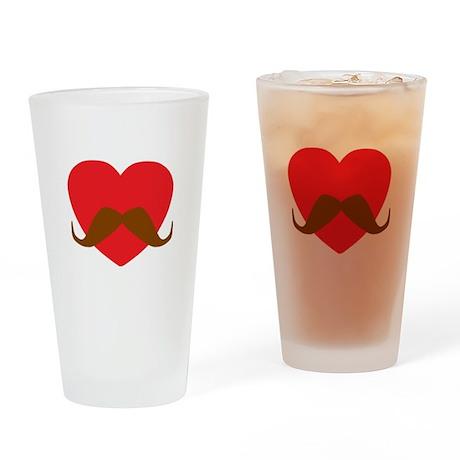 Red Heart Mustache Drinking Glass