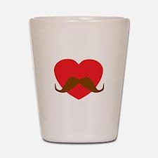 Red Heart Mustache Shot Glass