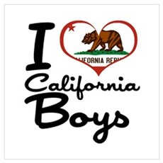 I Love California Boys Wall Art Poster