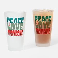 Peace Love Trombone Drinking Glass