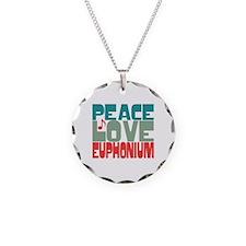 Peace Love Euphonium Necklace Circle Charm