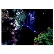 Waterfall At Night Wall Art Poster