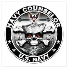 Navy Counselor Skull NC Wall Art Poster