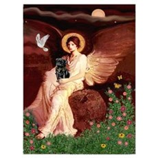 Seated Angel / Pug (blk) Wall Art Poster