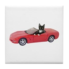 Cat in Red Car Tile Coaster