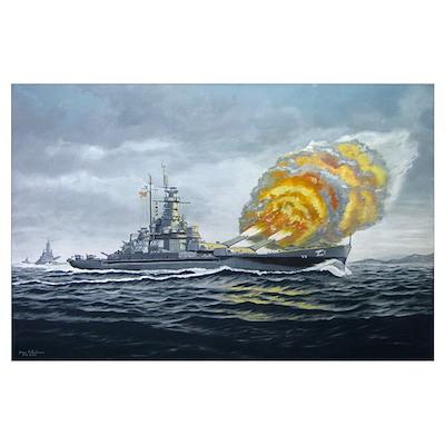USS Massachusetts - Final Bombardment Wall Art Poster
