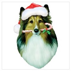 Shetland Sheepdog Christmas Wall Art Poster