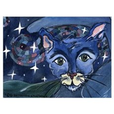 Cat 5 On a Starry Starry Night Wall Art Poster