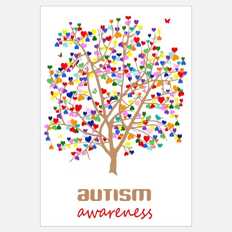 Autism Awareness Art Posters Framed Artwork: Autism Tree Wall Decor