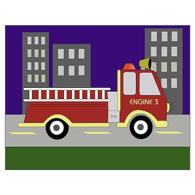 Firetrucks Wall Art Poster