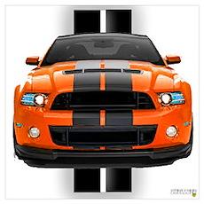 New Mustang GT Orange Wall Art Poster
