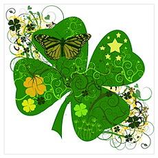 Lucky Irish Four Leaf Clover Wall Art Poster