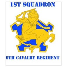 DUI - 1st Sqdrn - 9th Cavalry Regt with Text Mini Framed Print