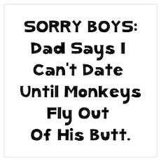 Sorry Boys Wall Art Poster