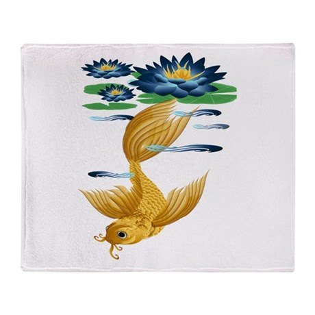 Gold Koi and Deep Blue Lilies Throw Blanket