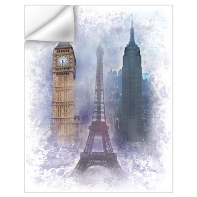 Eiffel Tower, Empire State and Big Ben Wall Art Wall Decal
