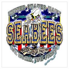 USN Navy Seabees Shield Wall Art Poster