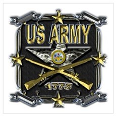 US Army Star Gold Wall Art Poster