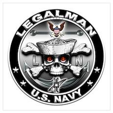 USN Legalman Skull LN Wall Art Poster