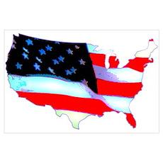 USA Flag Nation Wall Art Poster