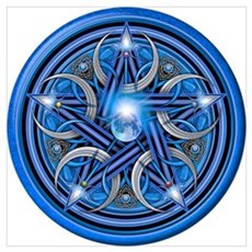 Blue Crescent Moon Pentacle Wall Art Poster