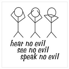 Hear No Evil Stick Figures Wall Art Poster