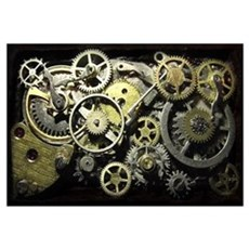 SteamPunk Gears Wall Art Framed Print