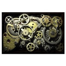 SteamPunk Gears Wall Art Poster