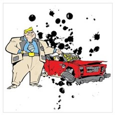 Car Sale Cartoon. Wall Art Poster