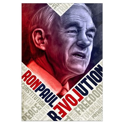 23x35 Ron Paul Revolution Painting Poster Framed Print