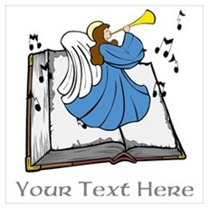 Angel and Book with Gray Text Wall Art Poster